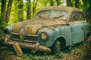 A very old car ready to be scraped